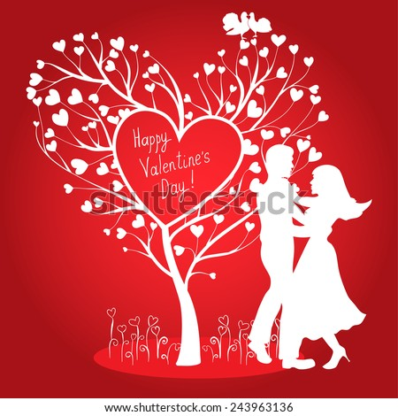 Greeting Valentines day card with tree of hearts, doves and dancing couple - stock vector