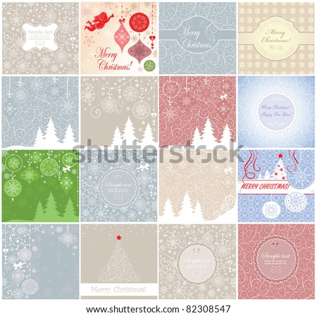 Greeting xmas cards - stock vector