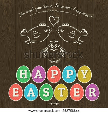 Greetings card for Easter Day with eleven colored eggs. Wooden background and two hand painted  birds.  Decorative composition suitable for invitations, greeting cards, flyers, banners. - stock vector
