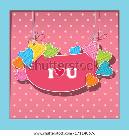 greetings card for lovers. Imitation paper applications - stock vector