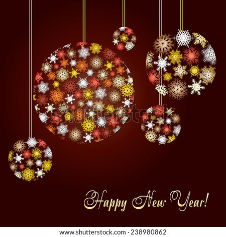 Greetings card for New Year's eve decorated with balls made from colored snowflakes, vector illustration