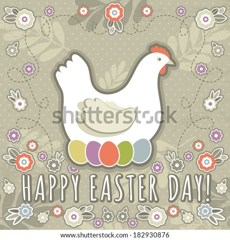 greetings card with easter eggs and one hen, vector - stock vector