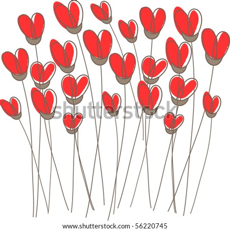 Greetings card with floral hearts - stock vector