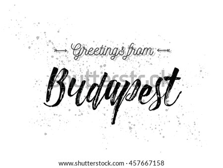 Greetings budapest hungary greeting card typography stock vector greetings from budapest hungary greeting card with typography lettering design hand drawn m4hsunfo