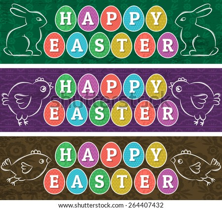 Greetings web banners for Easter Day with frame of easter elements, rabbit and chicken. The frame is egg-shaped. Decorative composition suitable for invitations, greeting cards, flyers, banners. - stock vector