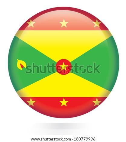 Grenada flag button - stock vector