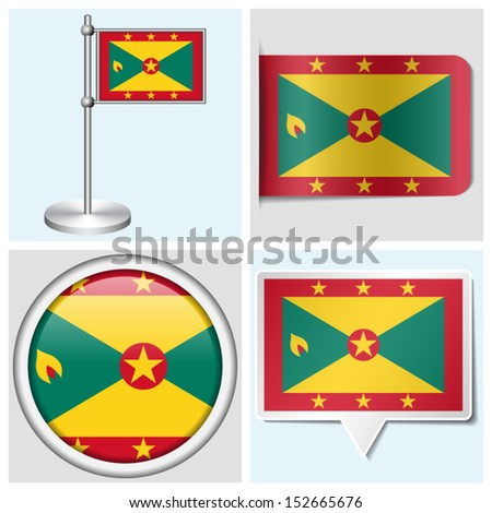 Grenada flag - set of various sticker, button, label and flagstaff - stock vector
