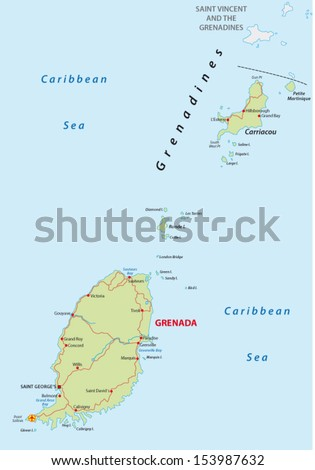 Grenada Administrative Map Stock Vector 169465334 Shutterstock