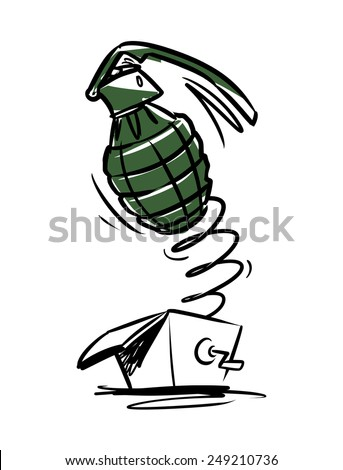 grenade in the surprise box - stock vector