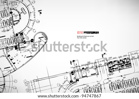 Grey abstract background. Architectural theme. Working drawings - stock vector