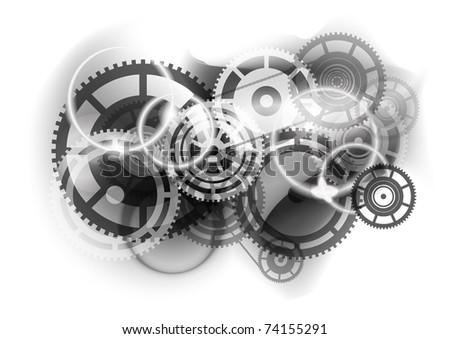 Grey abstract background with cogwheel - stock vector