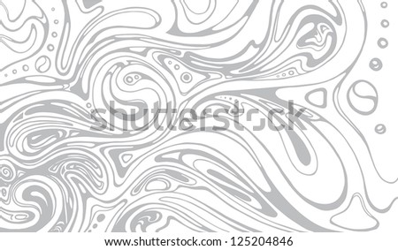 Grey Abstract Curves and Doodles Background - stock vector