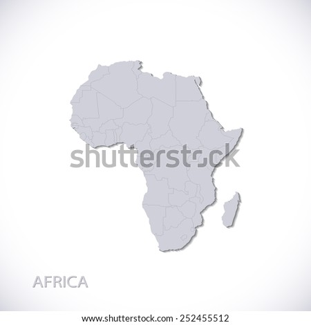 Grey Africa Map Vector Illustration - stock vector
