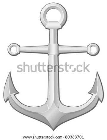 Grey anchor on a white background. Vector illustration.