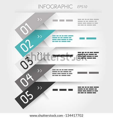 grey and turquoise five oblique sticker options. infographic concept. - stock vector