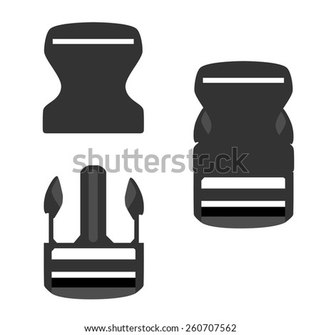 Grey backpack buckle opened and closed vector icon set isolated, belt buckle, safety buckle, bag buckle - stock vector