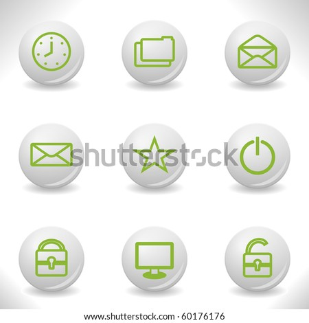 Grey balls with green icon and shadow (set 21) - stock vector