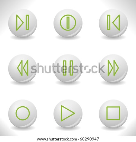 Grey balls with green icon and shadow (set 23). - stock vector