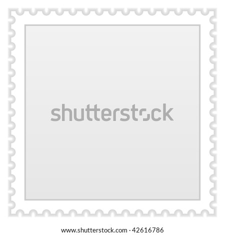 Grey blank postage stamp with shadow on a white background - stock vector