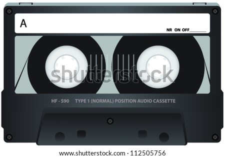 Grey Cassette Tape with See Through Window - stock vector