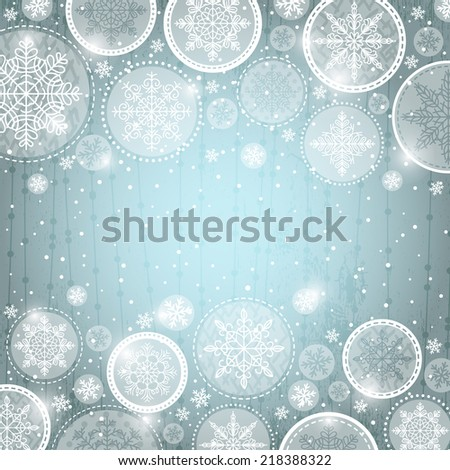 grey christmas background with snowflakes,  vector - stock vector