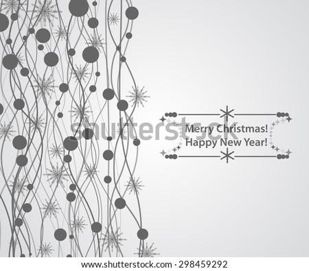 grey christmas horizontal background for your text with snowflakes and lines - stock vector