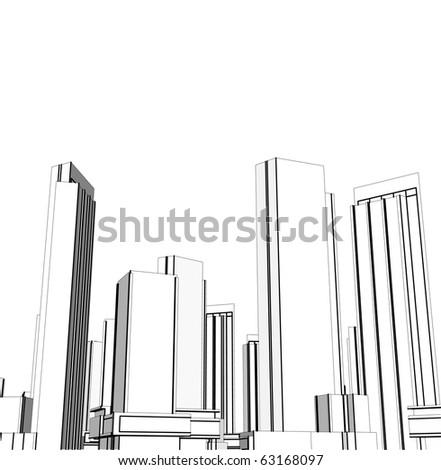 Grey city - stock vector