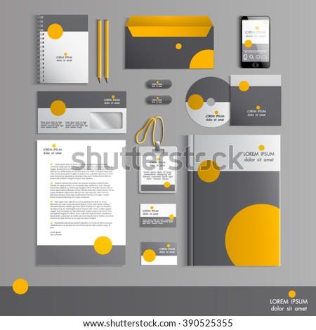 Grey Corporate Identity Template Orange Round Stock Vector (2018 ...