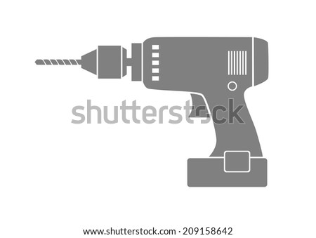 Grey drill icon on white background