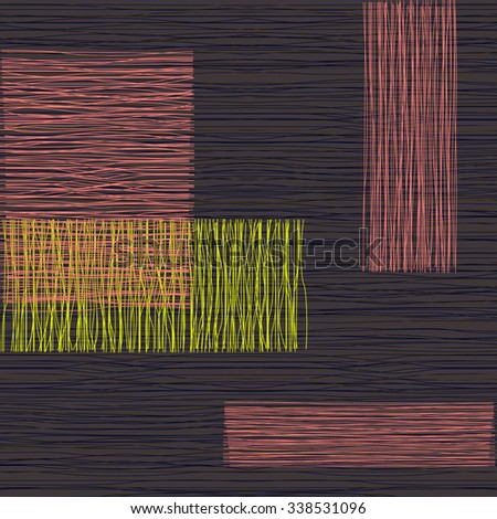 Grey fabric with stripes, burlap, quilting, imitation natural fibers hand art work, seamless background. - stock vector