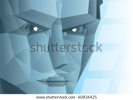 grey face of a robot - stock vector