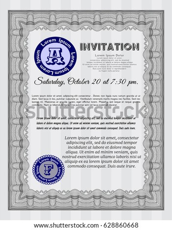 Grey Formal Invitation Template Complex Background Stock Vector