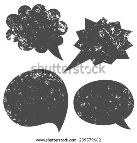 grey grunge speech bubbles - stock vector
