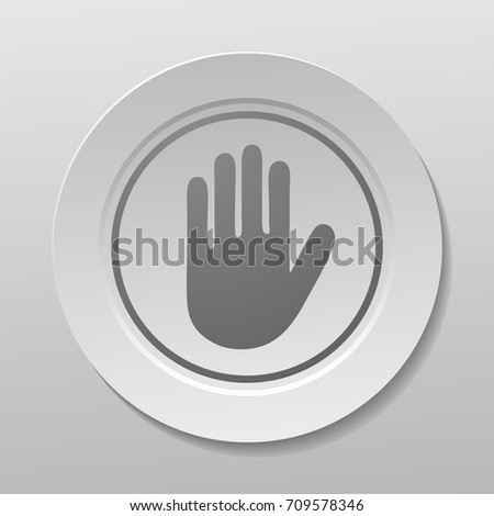 Grey Hand Sign on a White Plate, Vector Illustration.