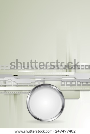 Grey hi-tech background with metallic circle. Vector design - stock vector
