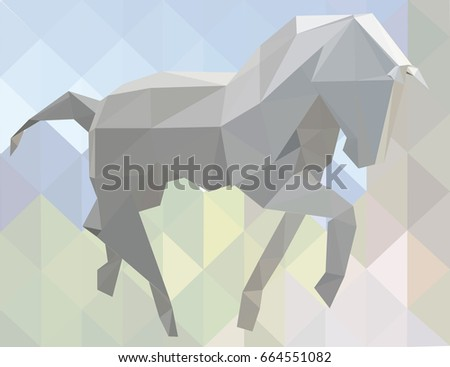 Grey horse low poly