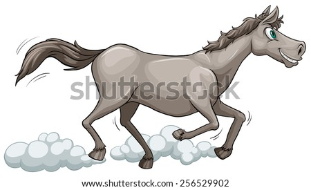 Grey horse running on a white background