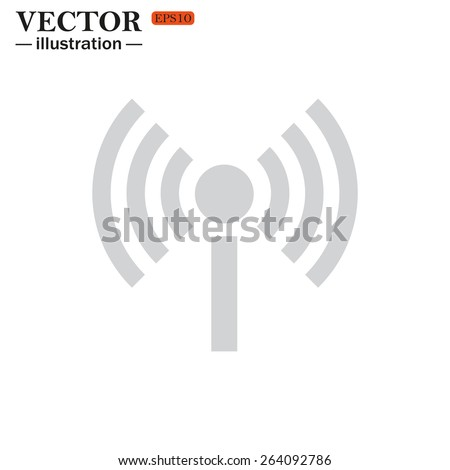 Grey icon on white background. The wireless network , vector illustration, EPS 10 - stock vector