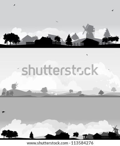 grey landscapes with trees and village - stock vector