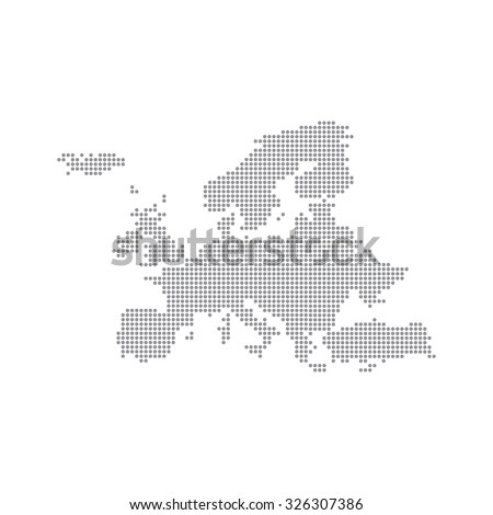 Grey Map Europe In The Dot. Vector illustration. - stock vector