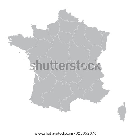 grey map of France (all regions on separate layers) - stock vector