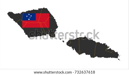 Grey Map Independent State Samoa National Stock Vector - Samoa map vector