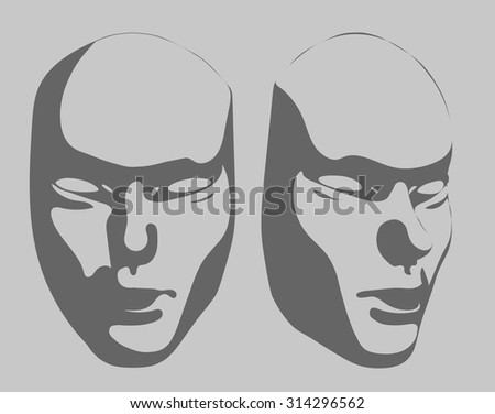 Grey mask front/3/4 view - stock vector