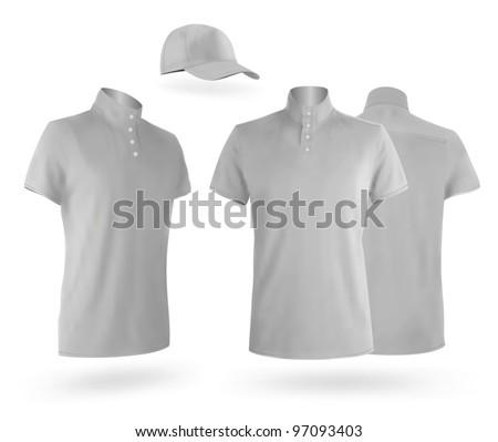 Grey men's uniform template: t-shirt and baseball cap - stock vector