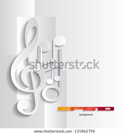 grey music Background with notes  Abstract illustration - stock vector