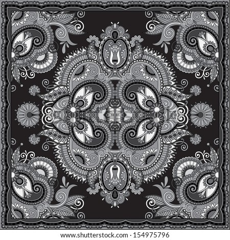 grey ornamental floral paisley bandanna. You can use this pattern in the design of carpet, shawl, pillow, cushion, black and white collection - stock vector