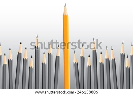 Grey pencils and one yellow pencil, leader concept - stock vector