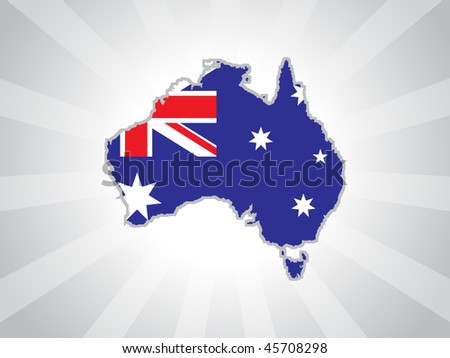 grey rays background with australia map - stock vector