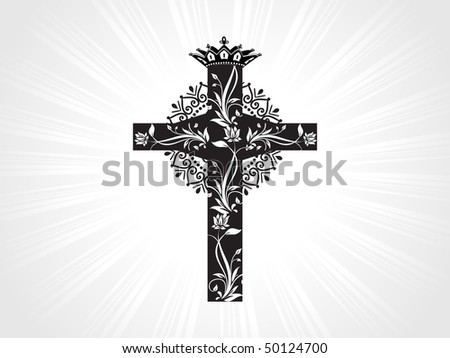 grey rays background with creative floral pattern cross - stock vector