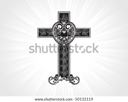 grey rays background with creative floral pattern cross